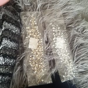Gold or silver, pearl, clear bead hair accessories